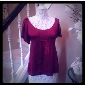 NWT darling cranberry silk blouse